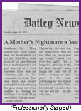 "Newpaper frontpage headline declaring ""A Mother's Nightmare"""